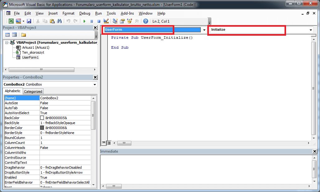 Formularz UserForm – Pole kombi ComboBox w Excel VBA