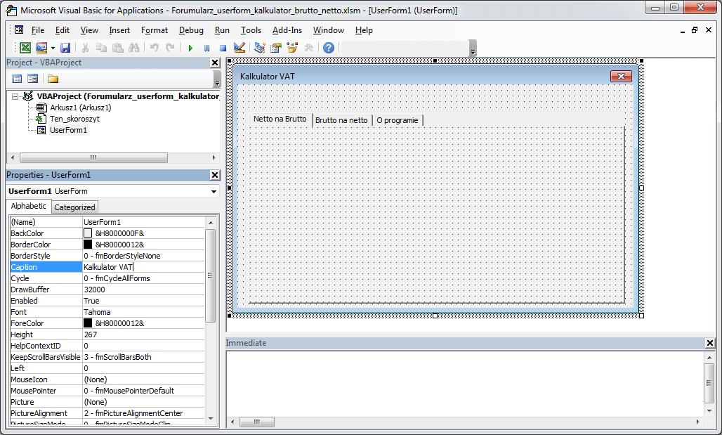 Kurs Excel VBA - Formularz UserForm zakładki MultiPage